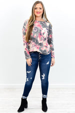 Song Of The Sea Dusty Pink Tie Dye Open Shoulder Top - B9627DPK