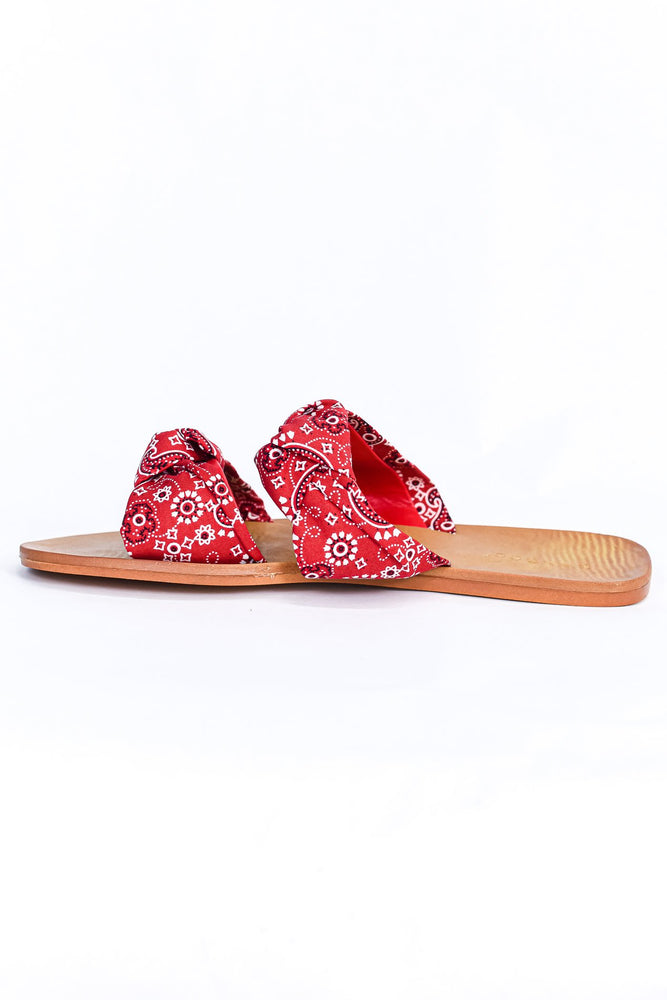 Gimme Three Steps Red Paisley Sandals - SHO2035RD