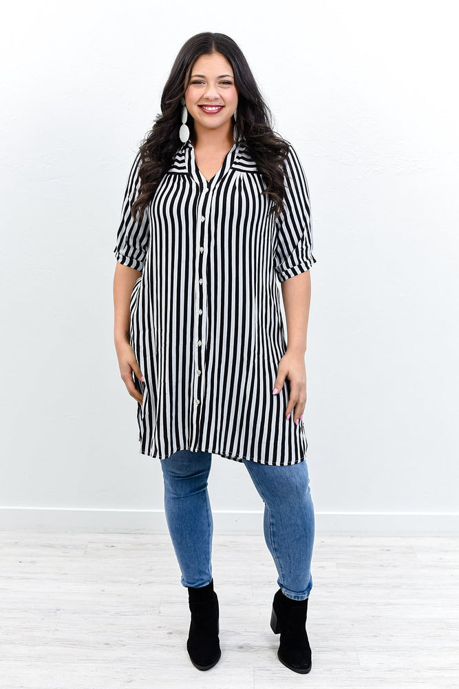 Who's That Lady Black Striped High-Low Tunic - B10748BK