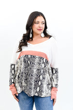 Light Up The Dark Ivory/Mauve/Snakeskin Colorblock Top - B10728IV