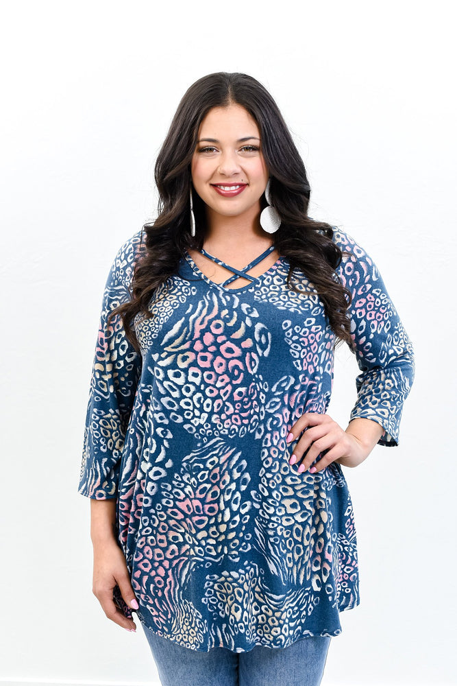 She's A Cool Cat Navy/Multi Color Leopard Crisscross Front Top - B10672NV