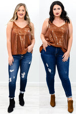 I See You Shining Rust Sequins V Neck Top - B9414RU