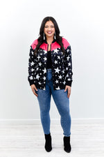 Blame It On The Stars Fuchsia/Black Star Printed Jacket - O3038FU