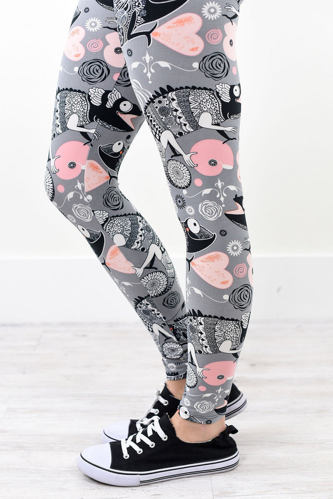 Gray Chameleon Wide Band Printed Leggings (Sizes 4-12) - LEG1581GR