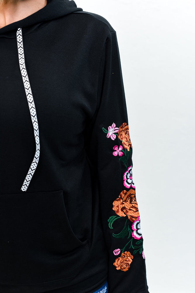 Flowers On The Wall Black/Multi Color Embroidered Hooded Top - B10791BK