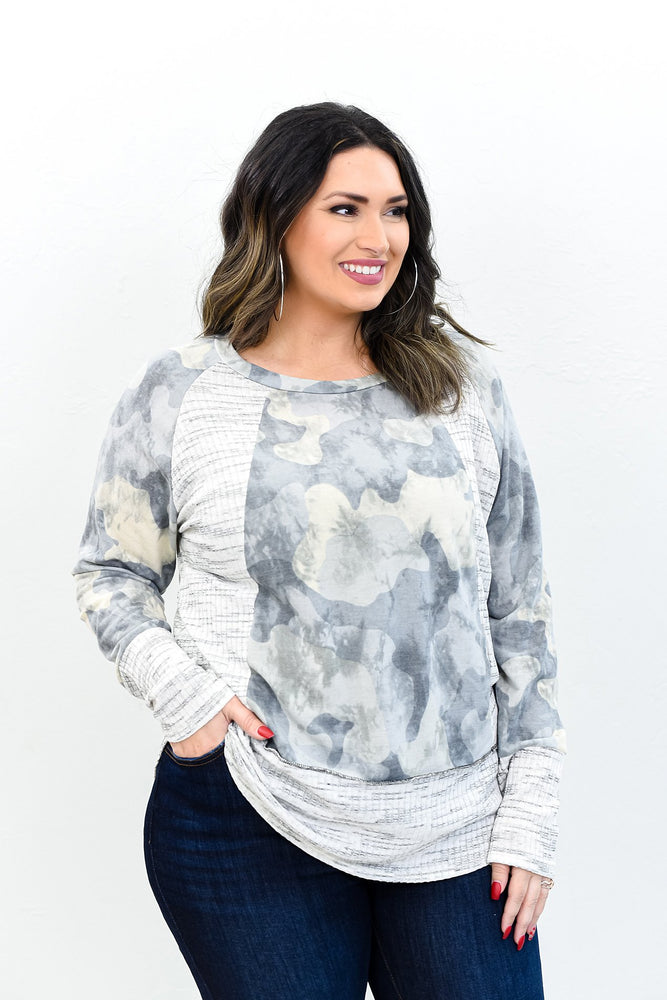 Till I Get It Right Gray/Ivory/Black Camouflage Top - B10796GR
