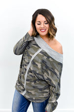 Got To Give It Up Olive Camouflage Top - B10793OL