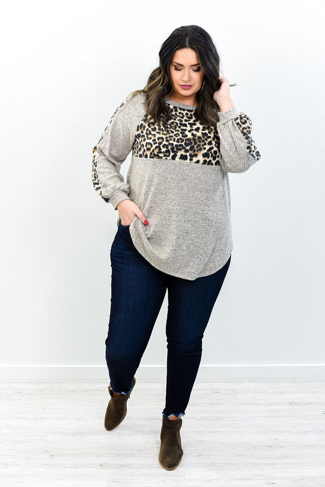 Laugh And Be Happy Heather Mocha Leopard Top - B10785HMO