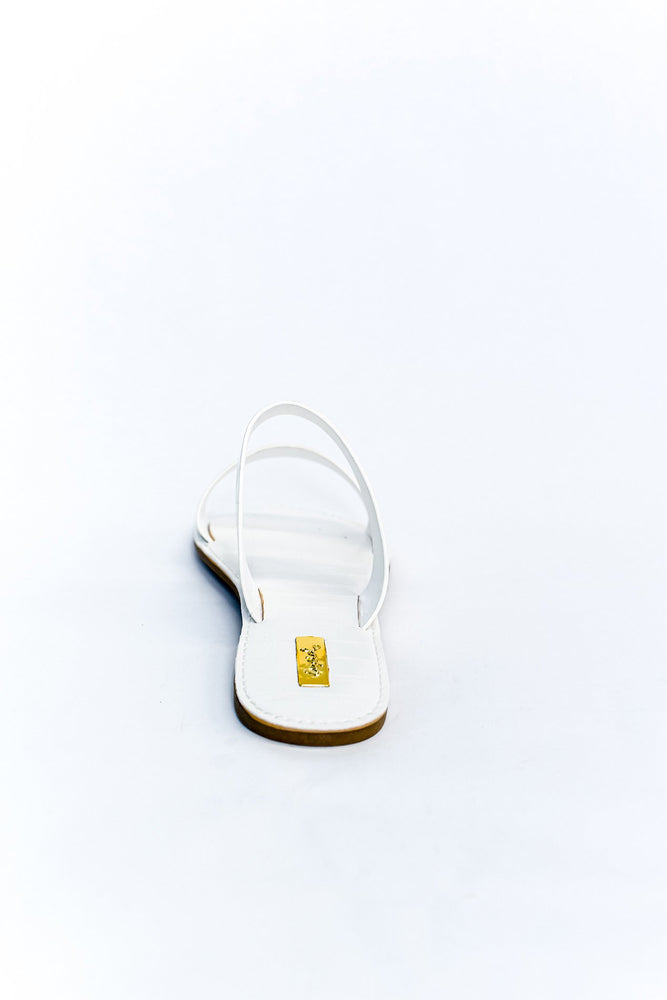 Feeling Connected White Crocodile Sandals - SHO1799WH