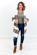 If You'll Love Me Taupe/Multi Color Striped Popcorn Cardigan - O2769TA