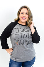 Single Taken Hungry Gray/Charcoal Gray Long Sleeve Graphic Tee - A871GR
