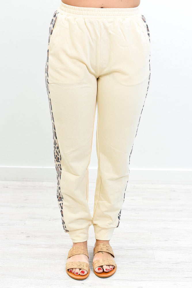 Ever So Effortless Cream Leopard Joggers - PNT1184CR