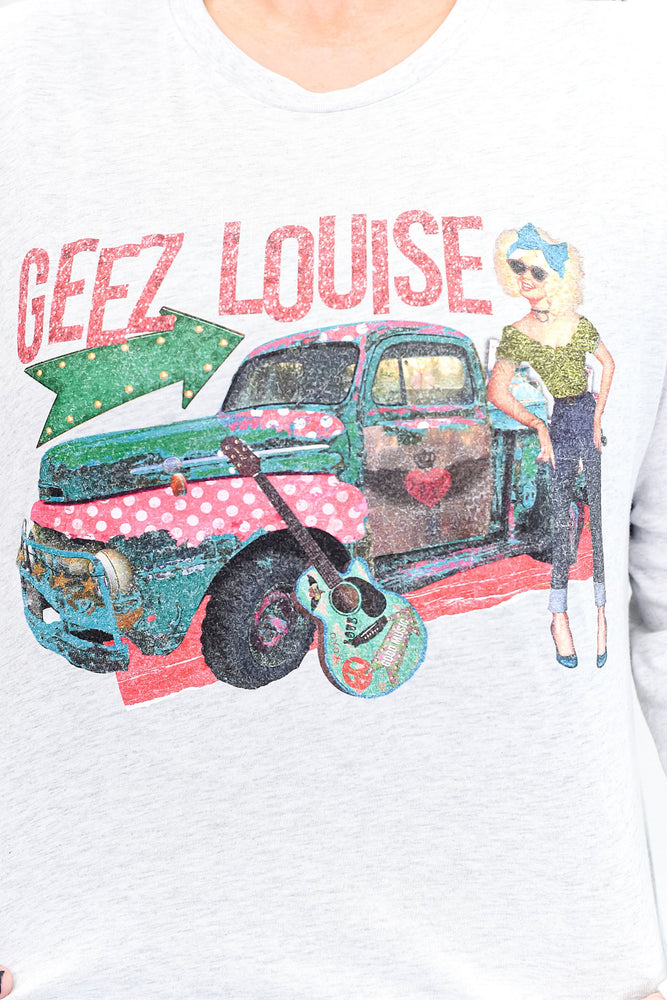 Geez Louise Heather White Long Sleeve Graphic Tee - A872HWH