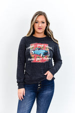 Follow Your Heart Charcoal Black Slub Long Sleeve Graphic Tee - A873CBK