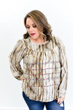 Opposites Attract Brown Multi Pattern Top - B9664BR