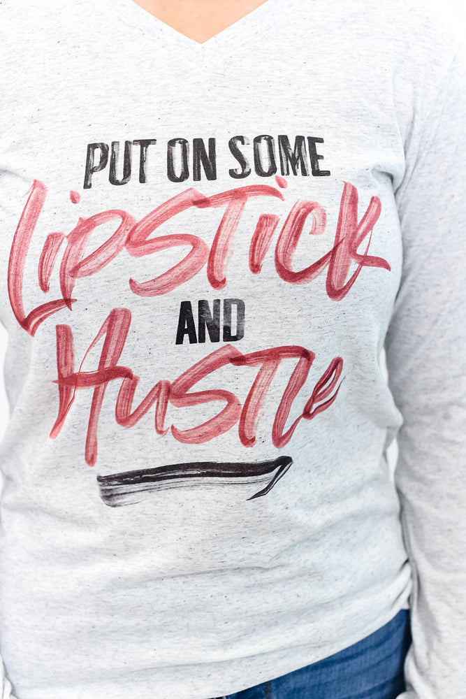 Lipstick And Hustle White Fleck V Neck Graphic Tee - A1015Wh