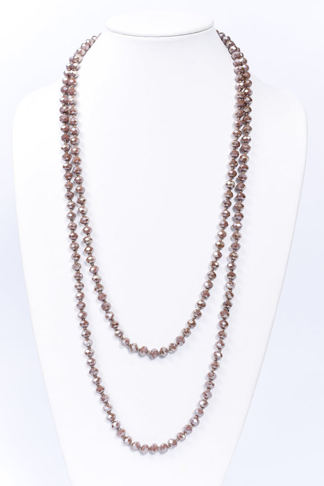 Dusty Mauve Faceted Beaded Long Strand Necklace - NEK3707DMV
