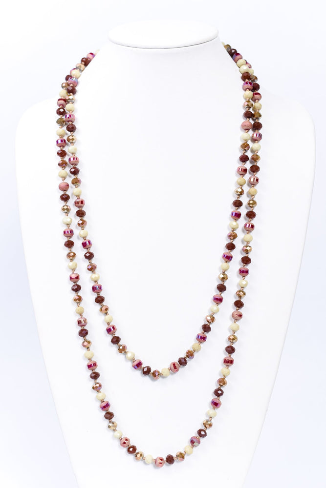 Fuchsia/Brown Faceted Beaded Long Strand Necklace - NEK3704FU