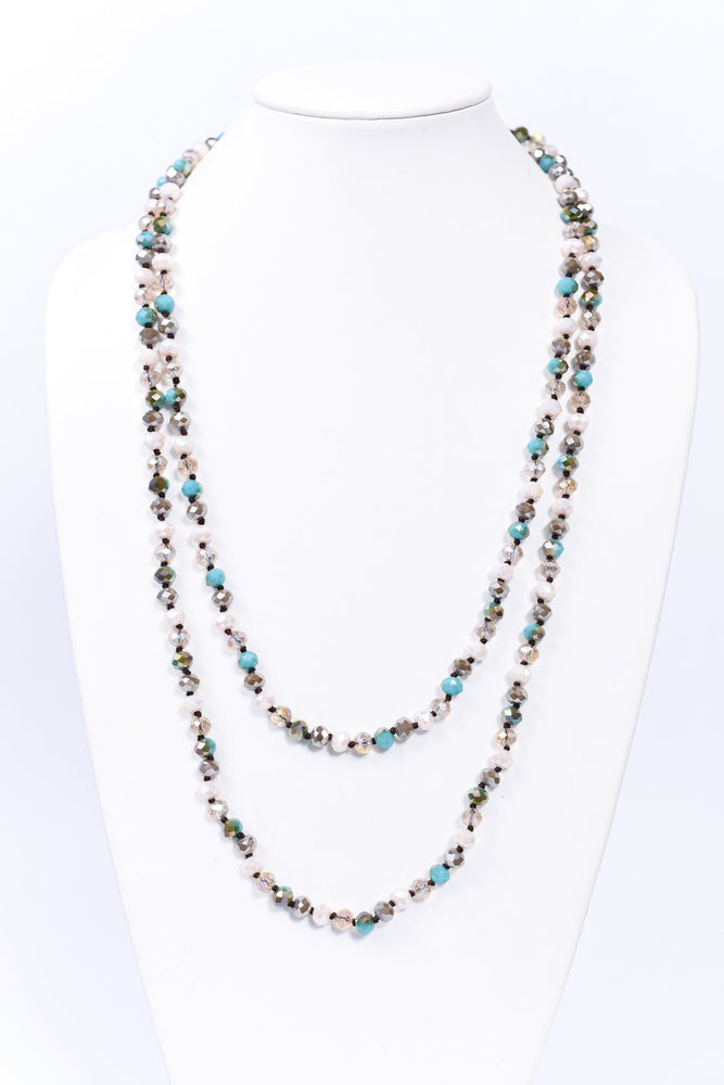 Turquoise/White Faceted Beaded Long Strand Necklace - NEK3702WH
