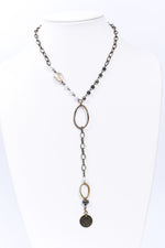 Bronze/Pearl Beaded Y-Shape Chain Necklace - NEK3718PR