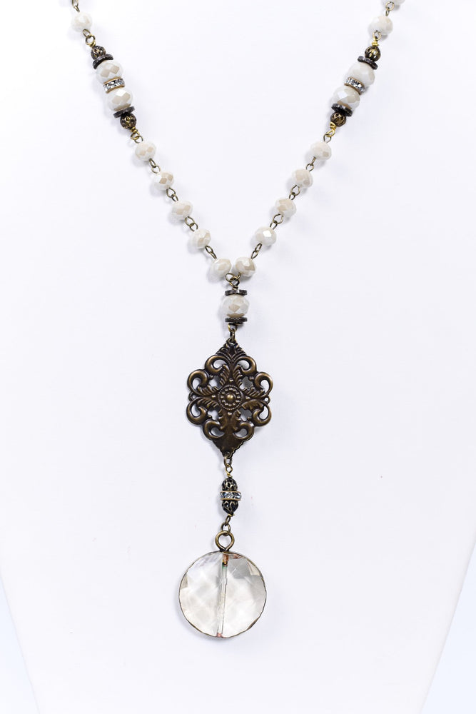 Ivory Faceted Beaded Ornate/Round Crystal Necklace - NEK3689IV