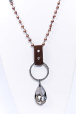 Pearl/Brown Cord/Bling Ring/ Crystal Pendant - NEK3720PR