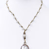 Ivory Beaded Round Crystal Pendant Choker Necklace - NEK3690IV