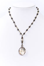 Bronze Beaded Round Crystal Pendant Choker Necklace - NEK3692BZ