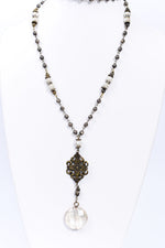 Bronze/Ivory Round Crystal Pendant Necklace - NEK3698BZ