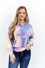 The Pick Of The Patch Multi Color Tie Dye V Neck Hooded Top - B9693MU