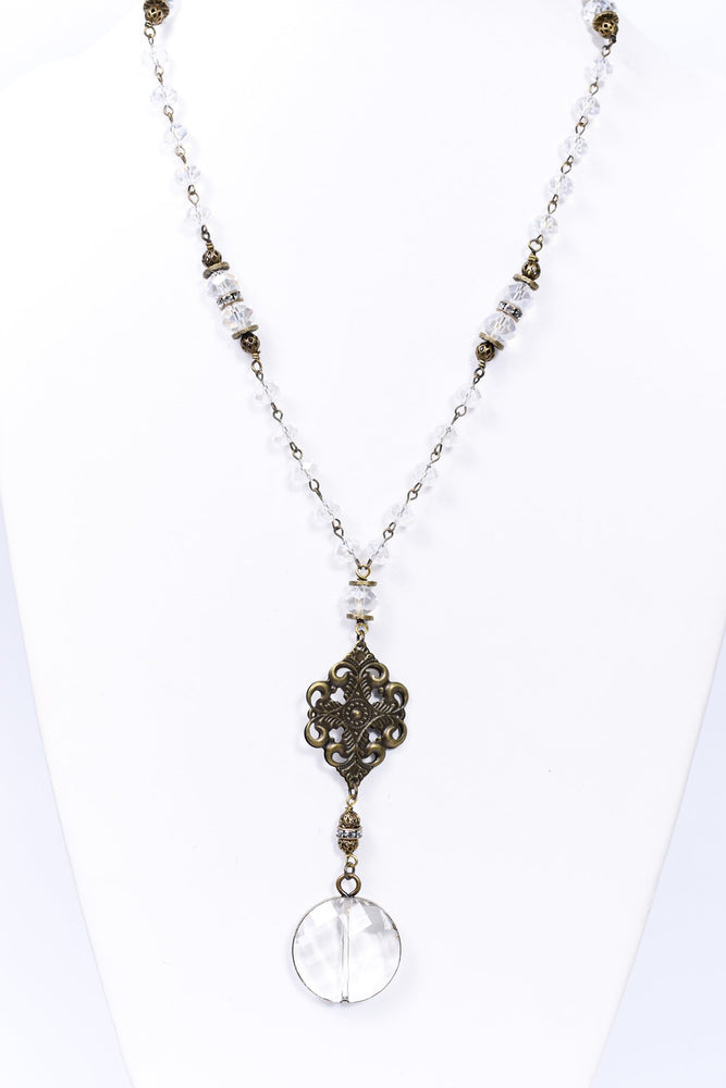 Bronze/Clear Crystal Round Pendant/Beaded Necklace - NEK3688BZ