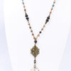 Turquoise/Brown Beaded Round Crystal Pendant Necklace - NEK3699TQ