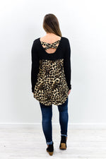 I Want To Dance Tonight Black/Leopard High-Low Top - B9694BK