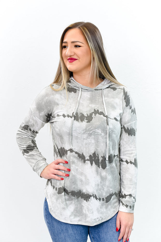 She's A Hippie Camper Gray Tie Dye Hooded Top- B9809GR