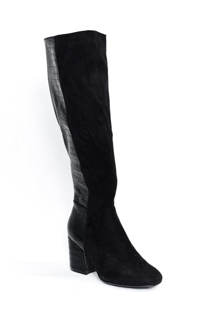 Own The Night Black Suede/Crocodile Boots - SHO1896BK