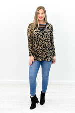 Say That You Need Me Brown/Black Leopard V Neck Top - B10263BR