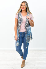 She's A Natural Beauty Natural/Navy Floral Sheer Lace Kimono - O2603NA