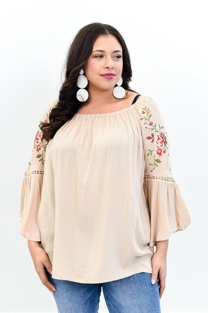 Your Love Is A Song Tan Floral/Embroidered Off The Shoulder Top - B10778TN