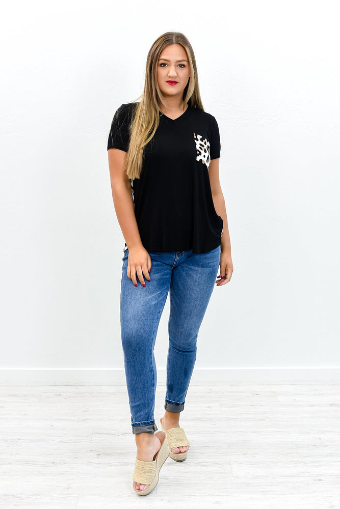 The Happy Wanderer Black/Ivory Leopard V Neck Top - B10786BK
