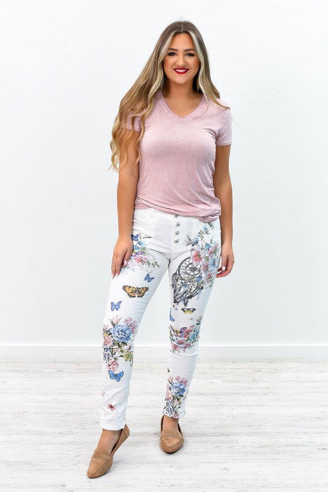 She's Such A Statement Ivory/Multi Color/Pattern Bling Pants - PNT1138IV