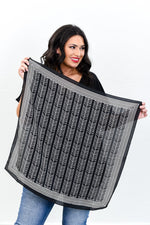 Black/White Printed Satin Scarf - SCA1048BK
