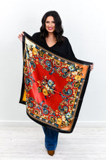 Red/Multi Color Paisley/Floral Satin Scarf - SCA1045RD
