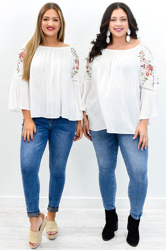 Your Love Is A Song Off White Floral/Embroidered Off The Shoulder Top - B10779OW