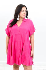 Creating Beautiful Moments Hot Pink Solid V Neck Linen Dress - D3523HPK