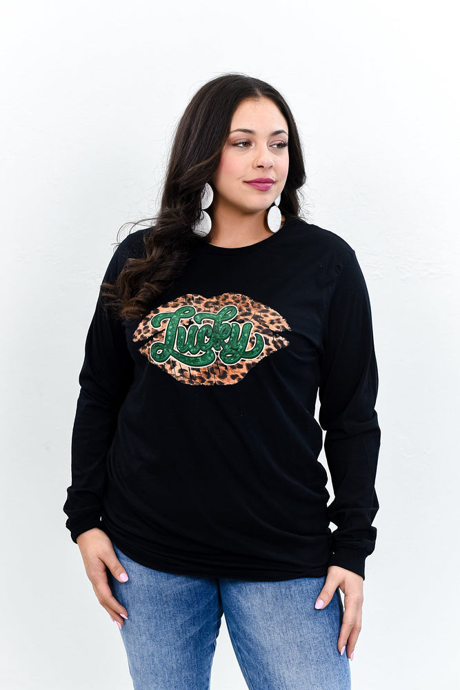 Lucky Black Leopard/Lip Printed Long Sleeve Graphic Tee - A1133BK