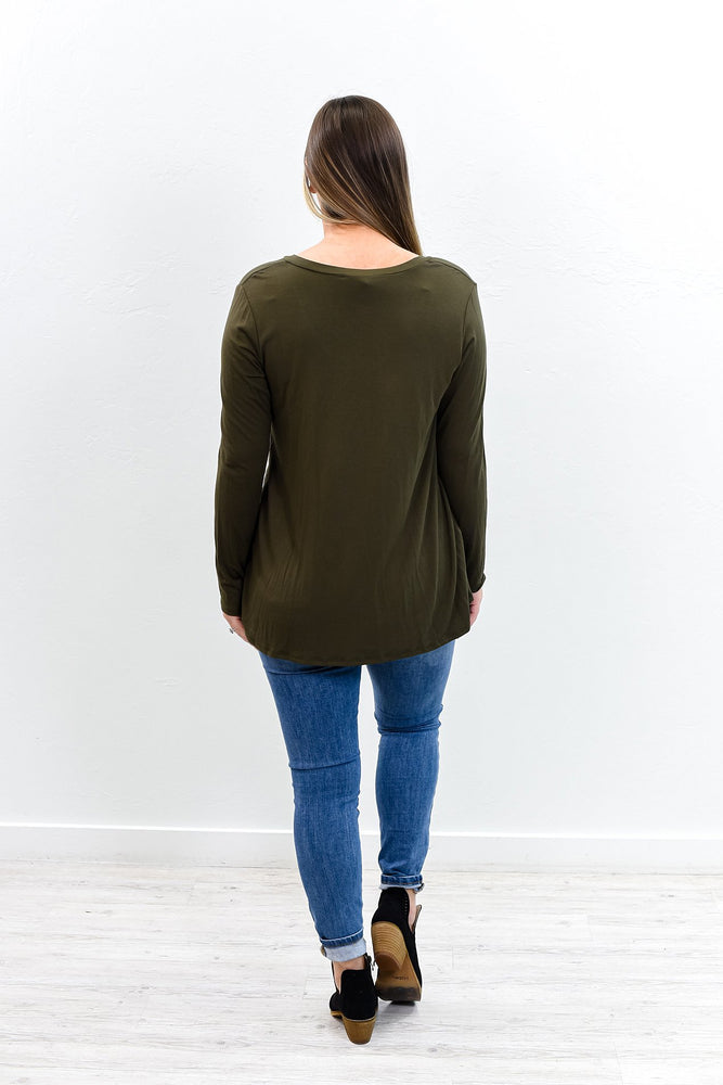 Our Best Years Are Yet To Come Olive V Neck Long Sleeve Top - B9721OL