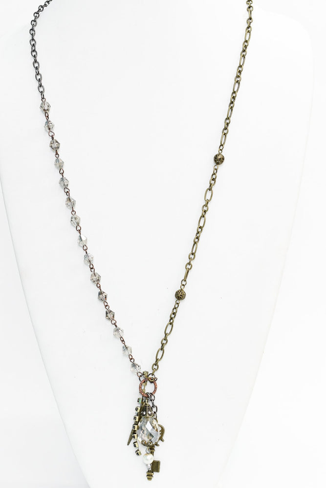 Bronze/Hematite Beaded Multi Charm Necklace - NEK3508BZ