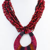 Burgundy/Dark Red/Multi Color Seed Beaded/Shell Pendant Necklace - NEK3506BU