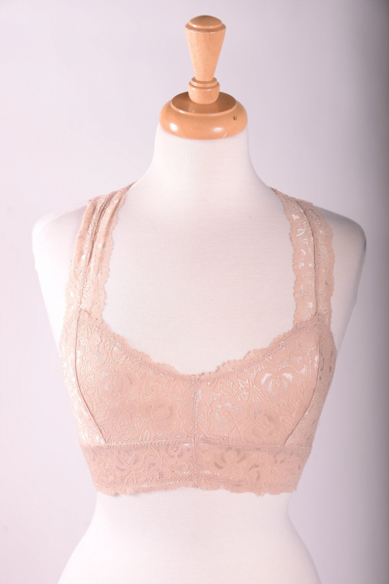 Lace Racerback Bralette (Sizes 4-18) - Taupe - BRA810TA-Tee for the Soul