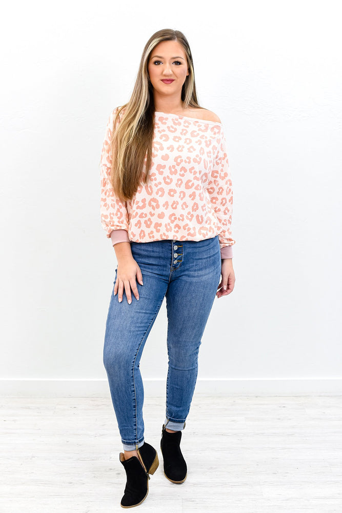 Where Is The Love Pink Leopard Off The Shoulder Top - B9759PK
